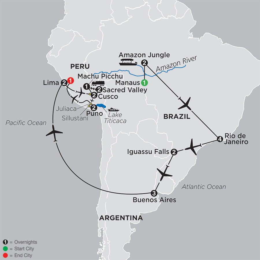 Ultimate South America with Brazil's Amazon map