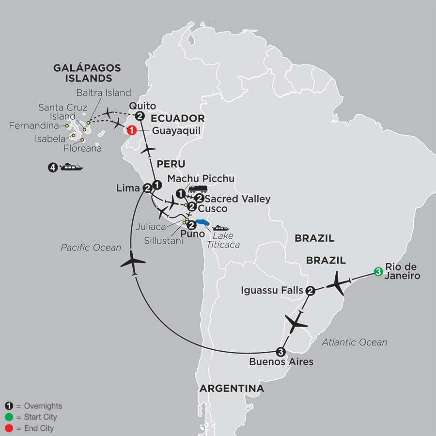 Ultimate South America with Galápagos Cruise map