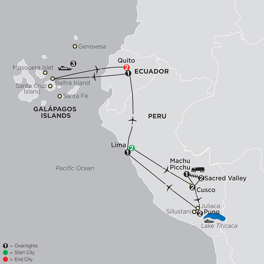 Mysteries of the Inca Empire with Galápagos Cruise map