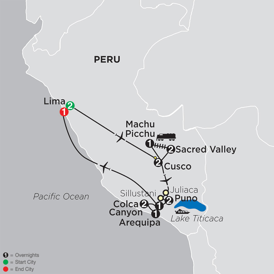 Mysteries of the Inca Empire with Arequipa & Colca Canyon map