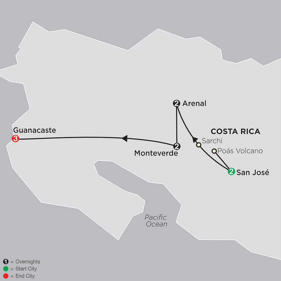 Gateway to Costa Rica with Guanacaste map
