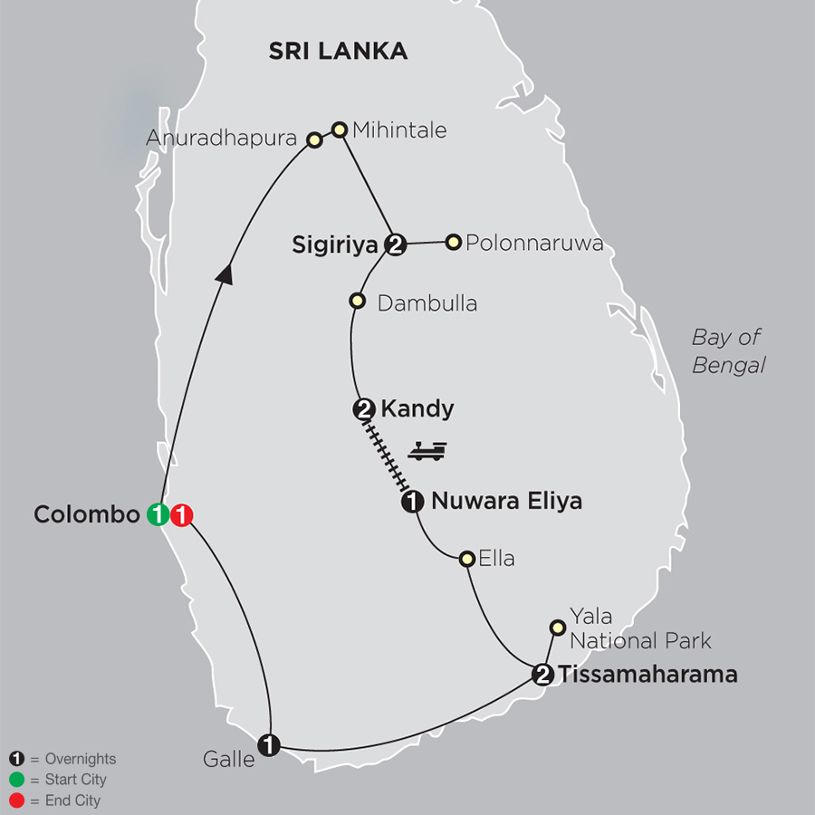 Grand Tour of Sri Lanka map