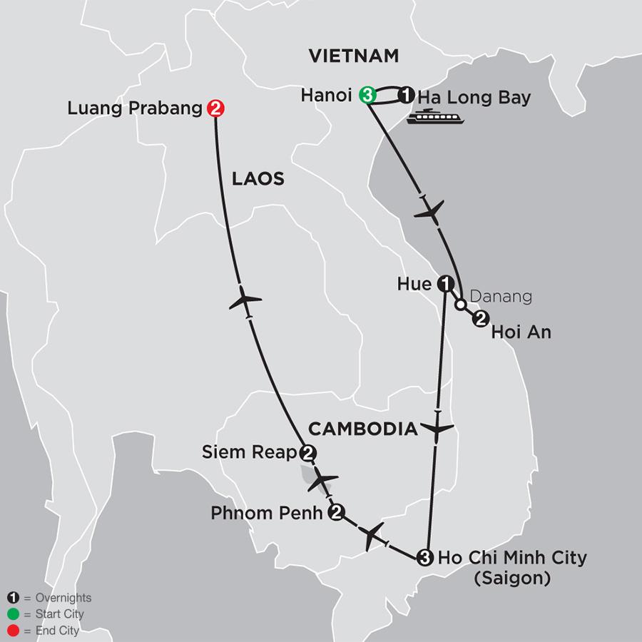 Simply Vietnam with Cambodia and Luang Prabang map