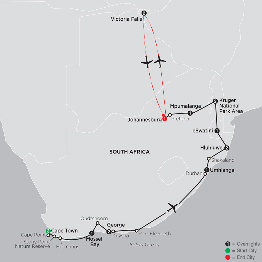 South Africa from the Cape to Kruger with Victoria Falls map