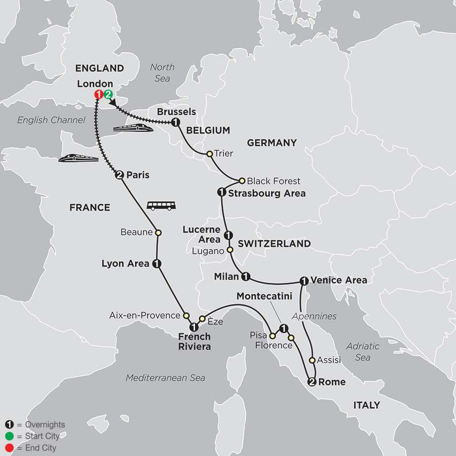 Wonders of Europe with Extended Stay in London map