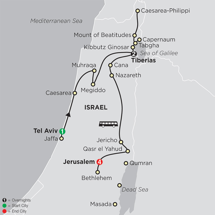 Biblical Israel – Faith-Based Travel – Protestant Itinerary map