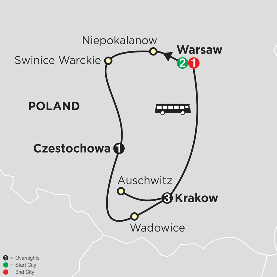 Czestochowa Poland Map.Spiritual Tour Of Poland Cosmos Religious Vacations