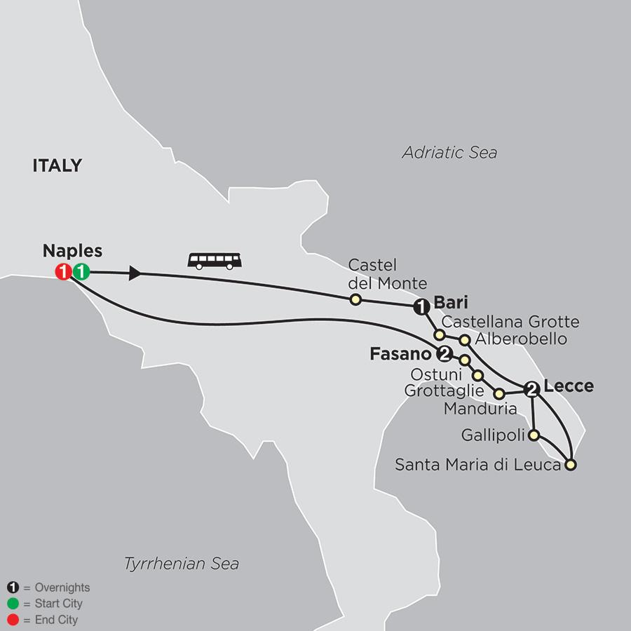 Apulia, the Heel of Italy map