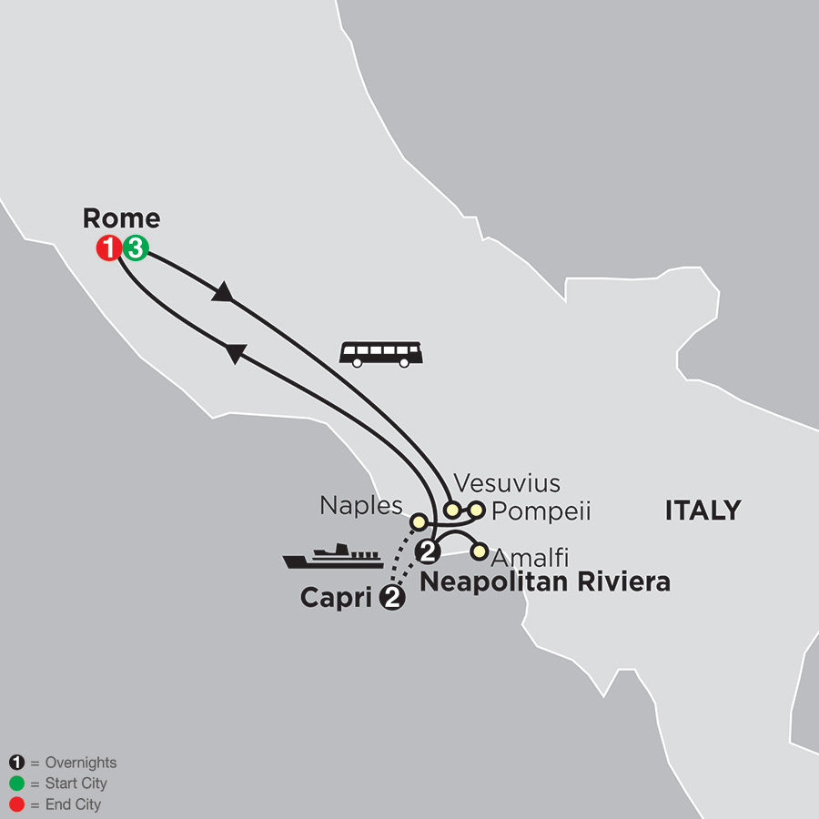 Rome, Sorrento & Capri map