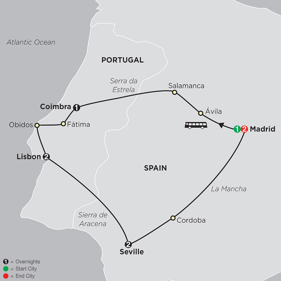 Lisbon, Seville & Madrid map