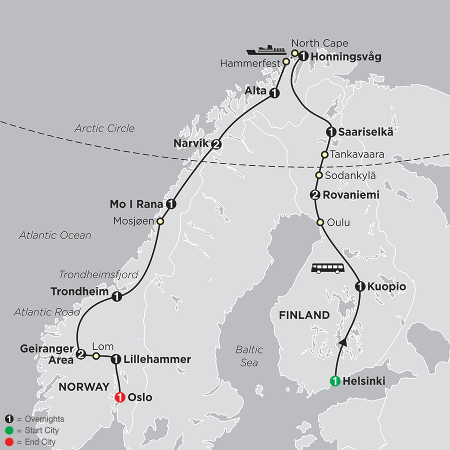 Finland Norway Tours Cosmos Affordable Tours - Norway map highlights