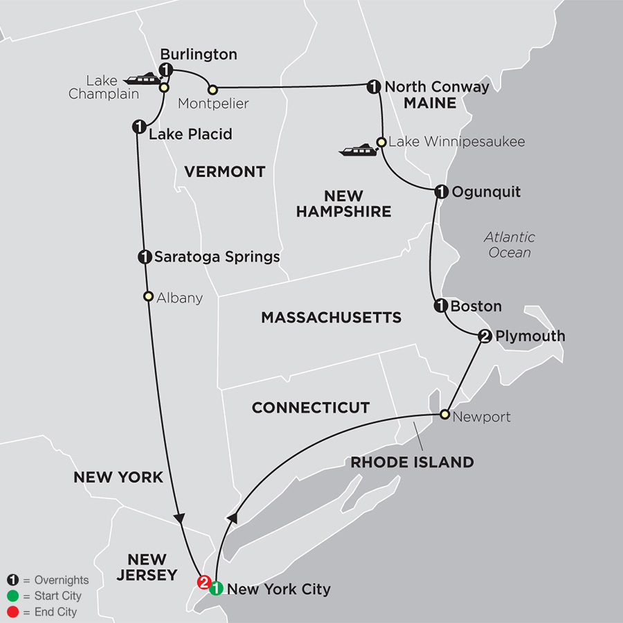 New England Traditions with Extended Stay in New York City map