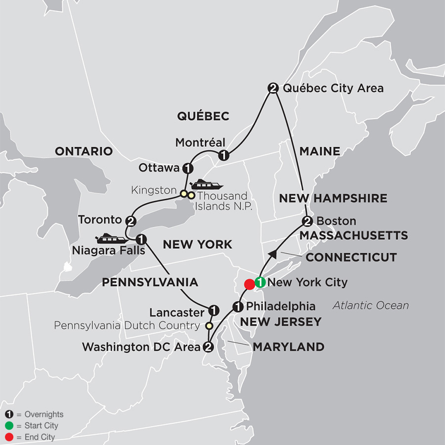 Eastern US & Canada Grand Vacation map