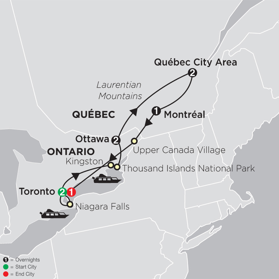 Ontario & French Canada with Toronto map