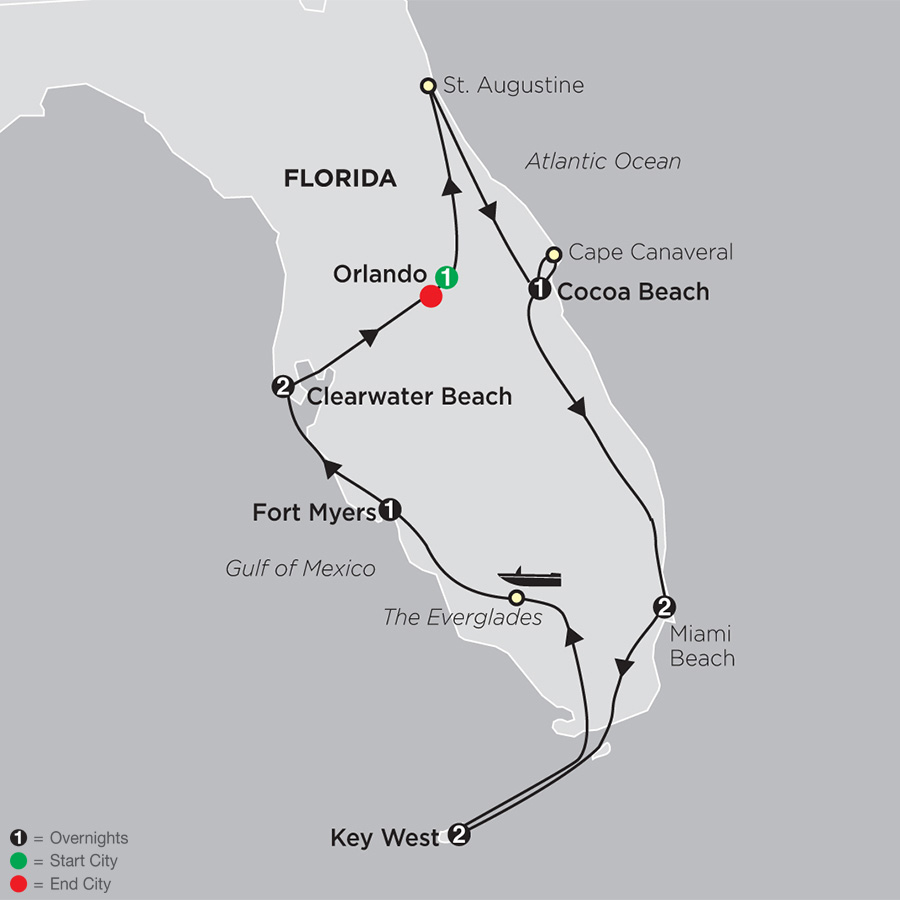 Florida East Coast Beaches Map.Florida Vacations Cosmos Guided Tours