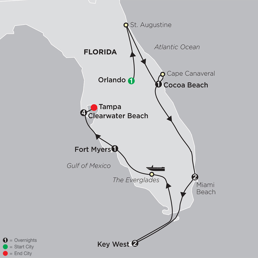 Florida Discovery with Clearwater Beach map