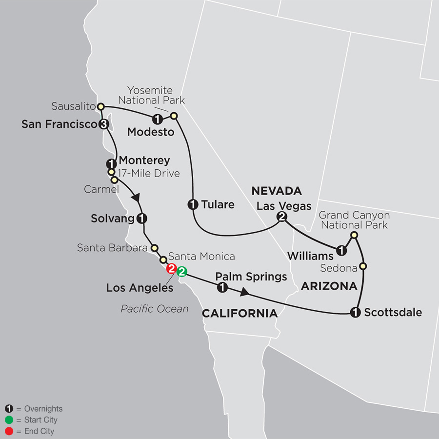Golden West Adventure with Los Angeles map