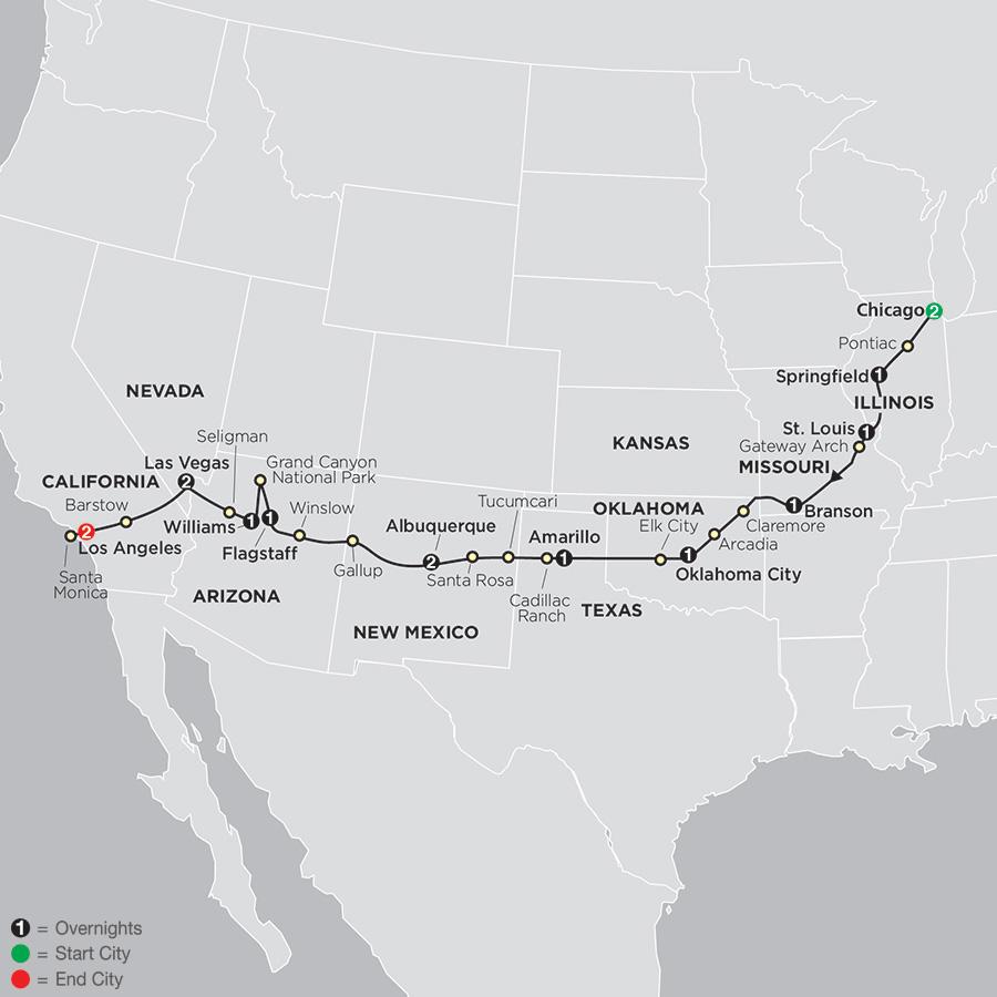 Highlights of Route 66 with Albuquerque Balloon Fiesta map