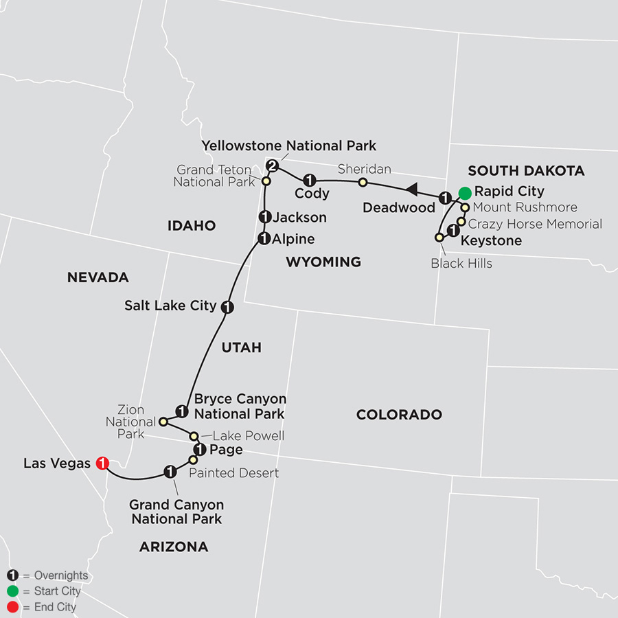 National Parks & Canyon Country with Rapid City Start map