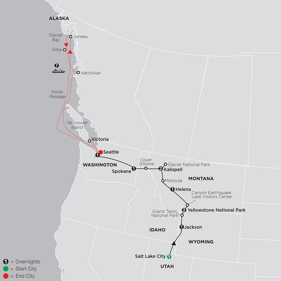 Geysers to Glaciers with Alaska Cruise map