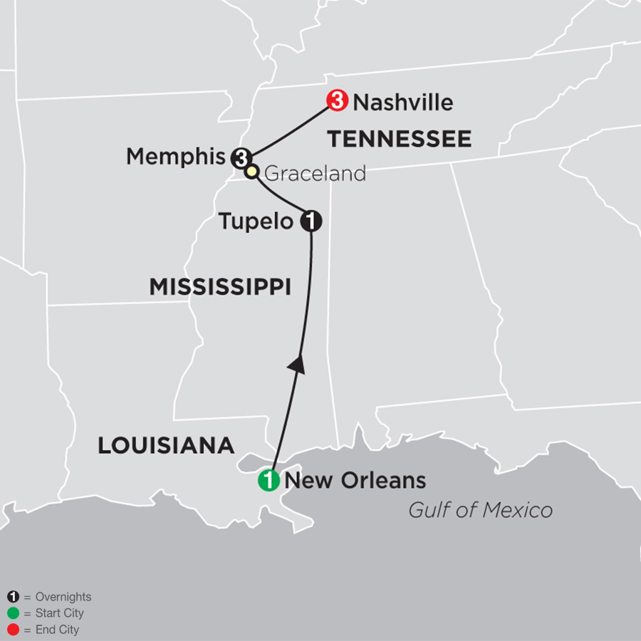 Elvis & the Southern Sounds map
