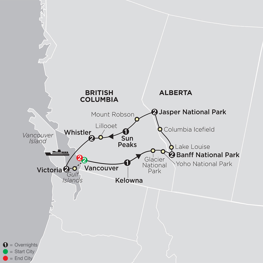 The Canadian Rockies with Vancouver map