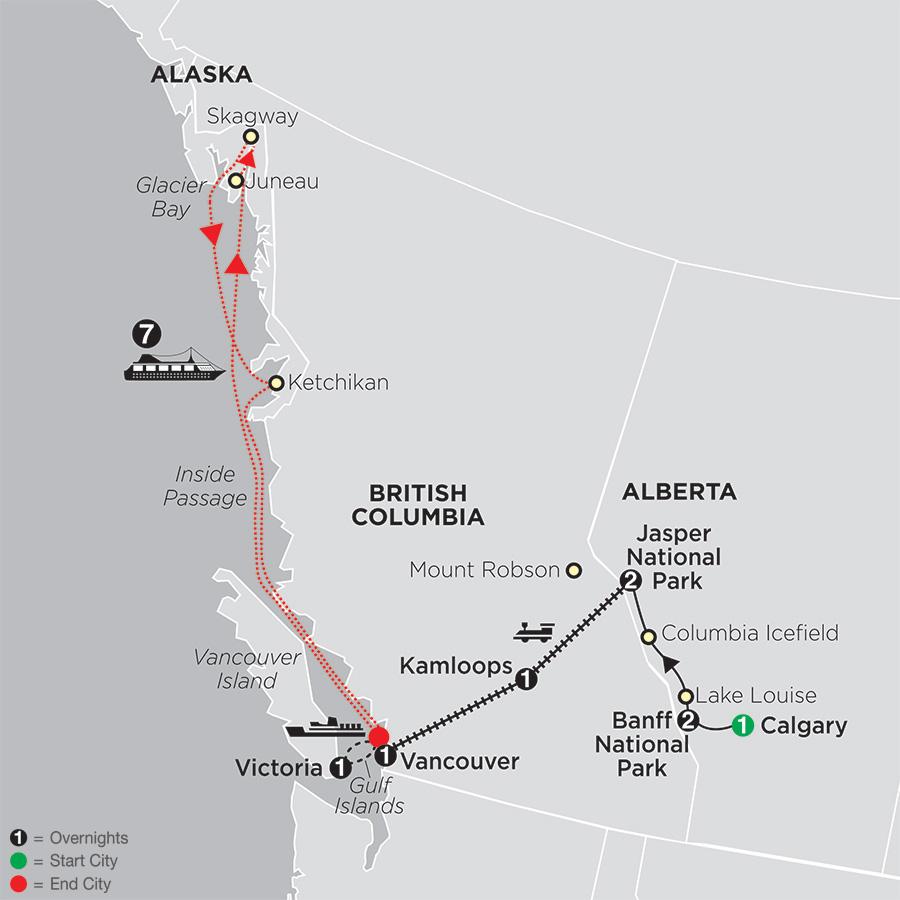 Western Canada by Rail with Alaska Cruise map
