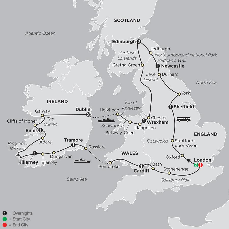 The Best of Britain & Ireland map