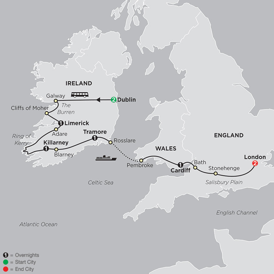 From Dublin to London map