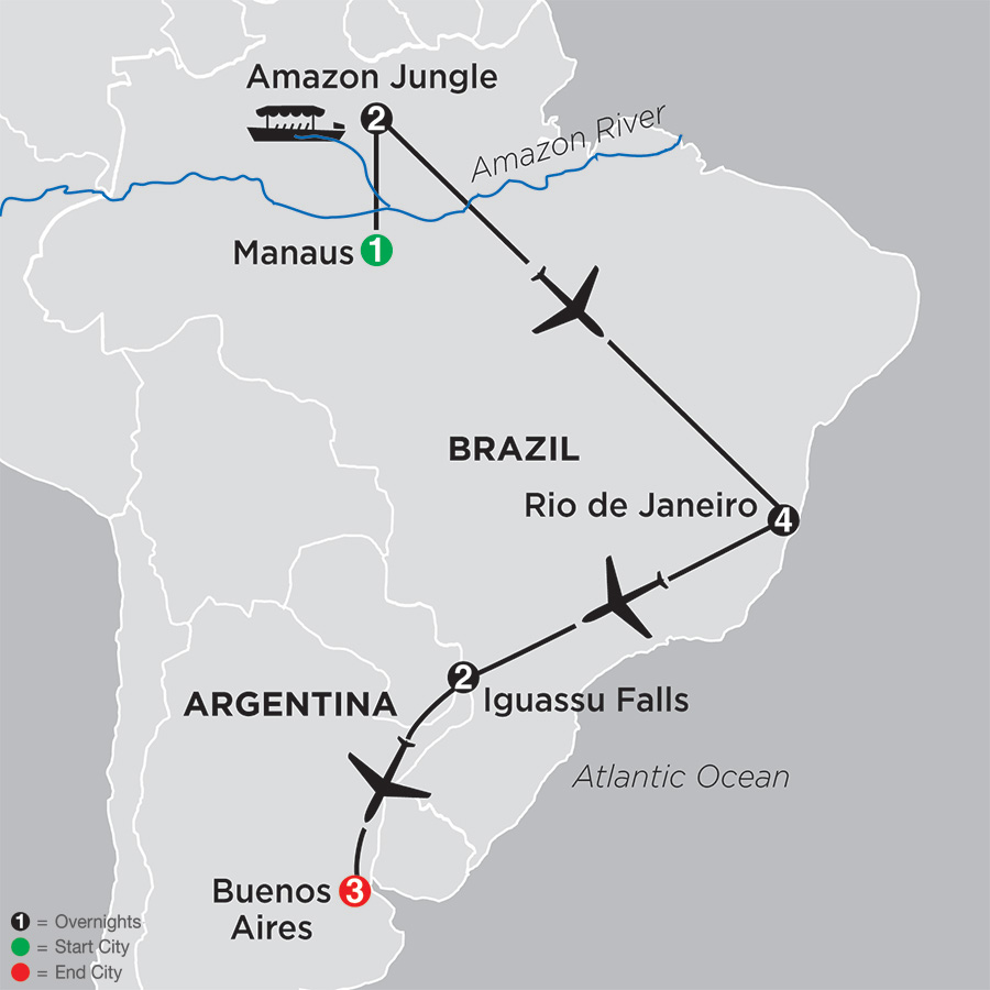 The Best of Brazil & Argentina with Brazil's Amazon map