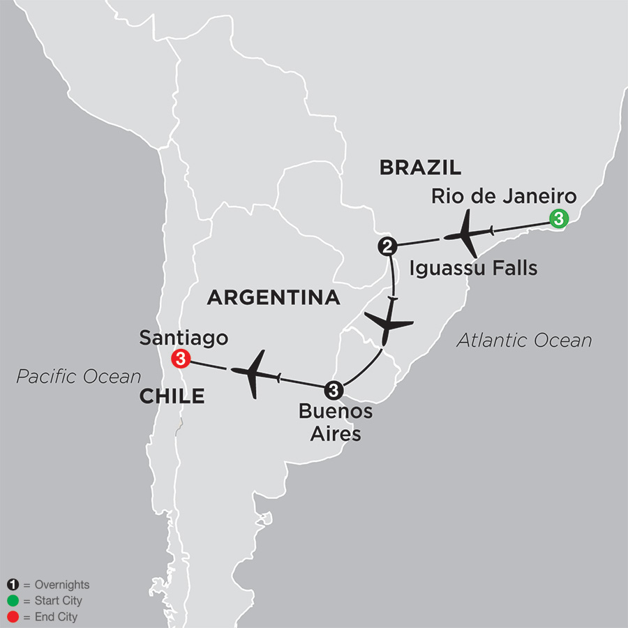Brazil, Argentina & Chile Unveiled map