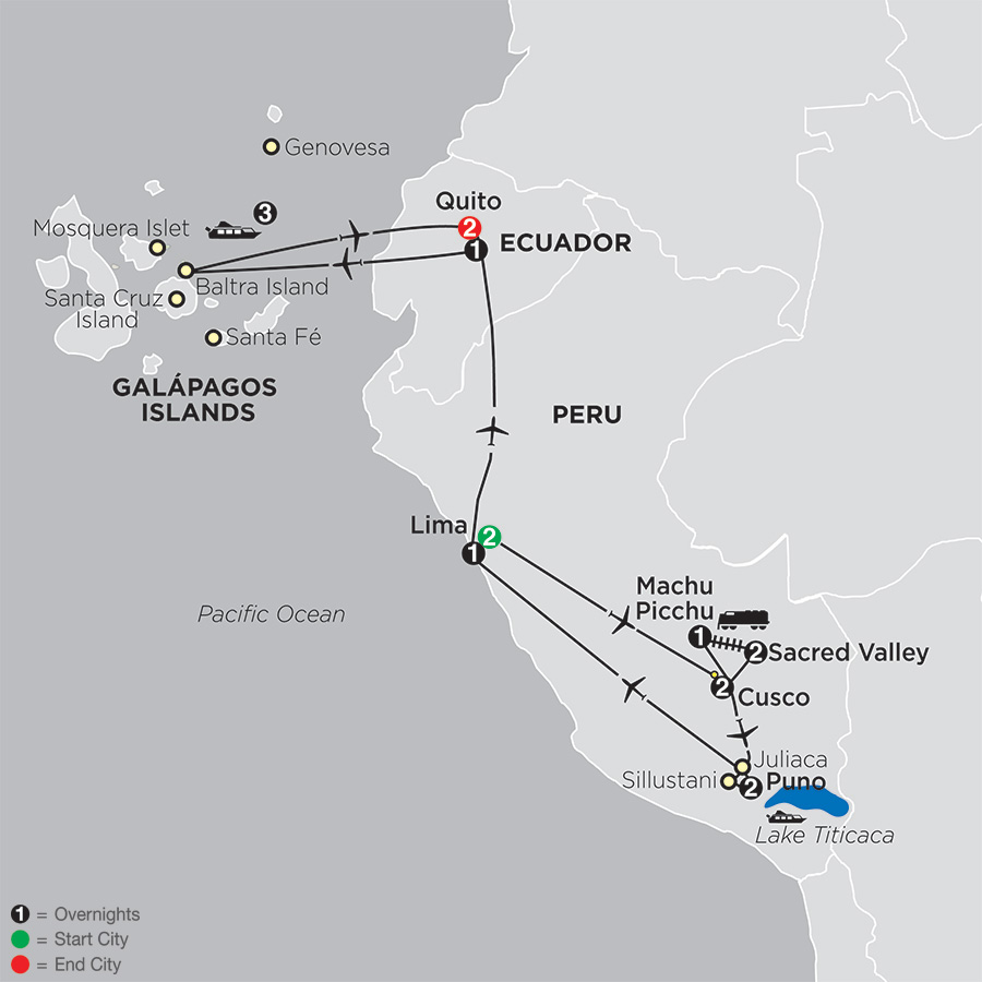 Mysteries of the Inca Empire with Galapagos Cruise map