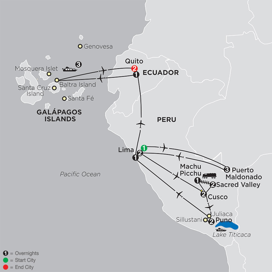 Mysteries of the Inca Empire with Peru's Amazon & Galapagos Cruise map