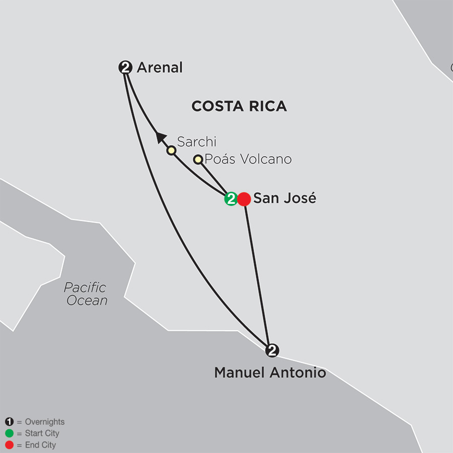 Gateway to Costa Rica map