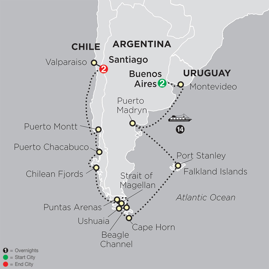 Cruising South America map