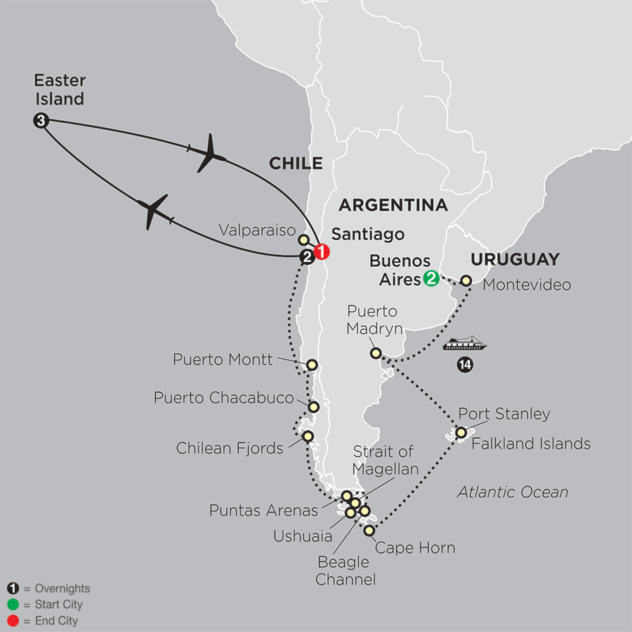 Cruising South America with Post Easter Island map
