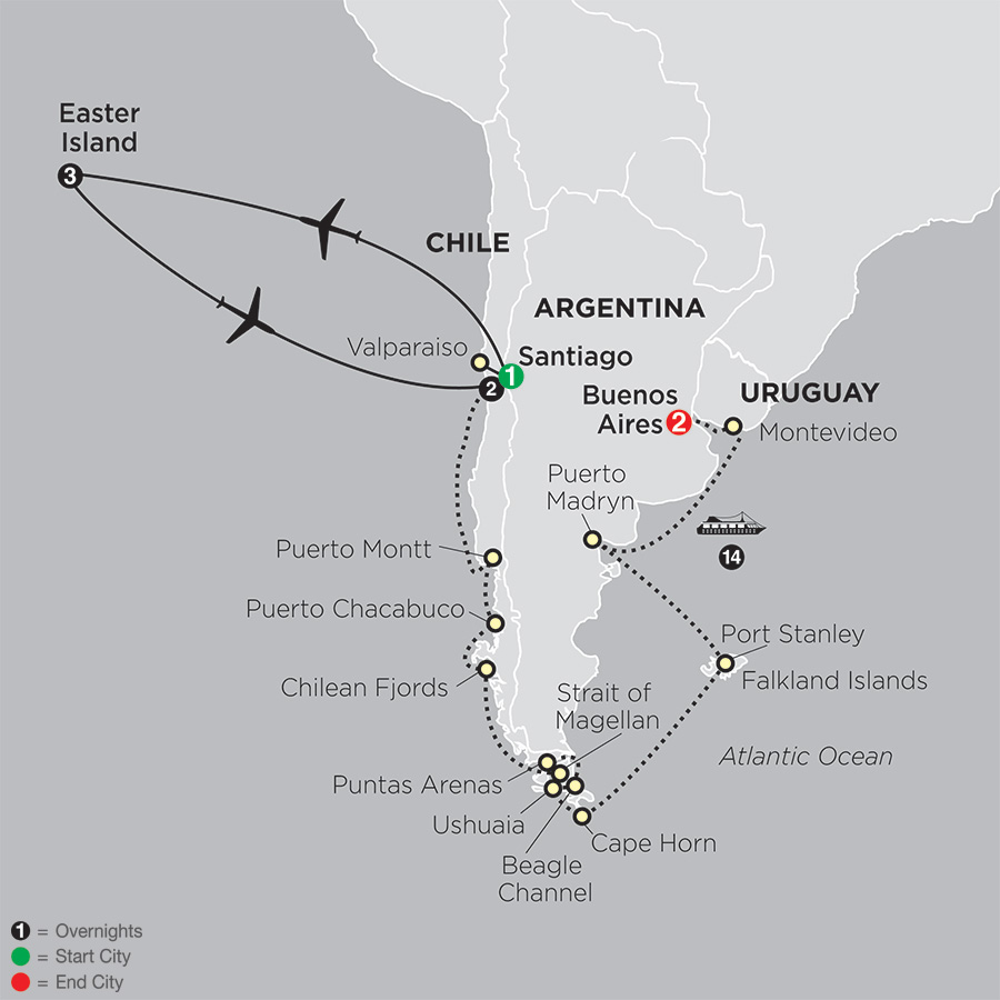 Cruising South America with Pre Easter Island map