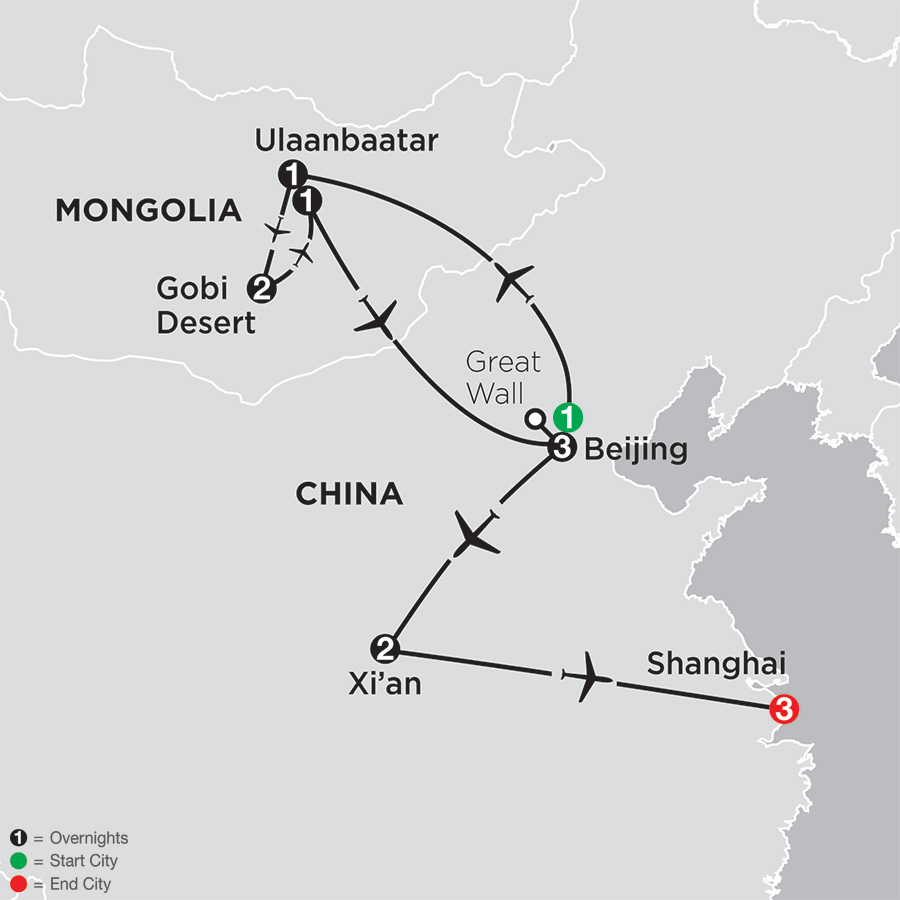 China Experience with Mongolia map
