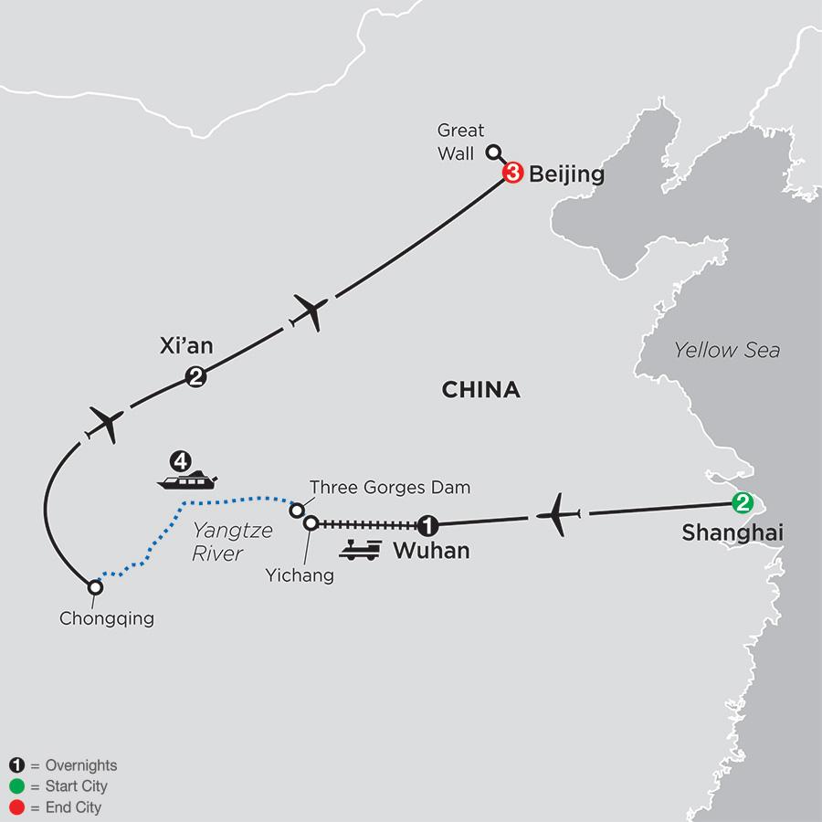 Spirit of China & the Yangtze River map