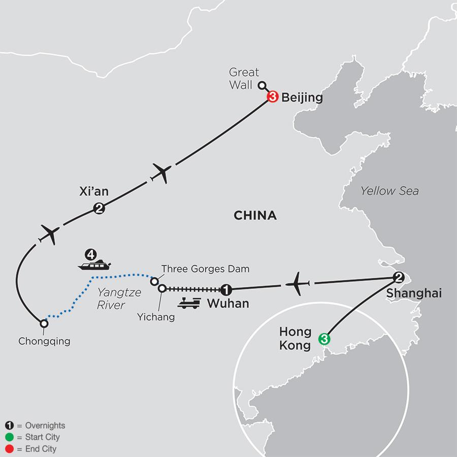 Spirit of China & the Yangtze River with Hong Kong map