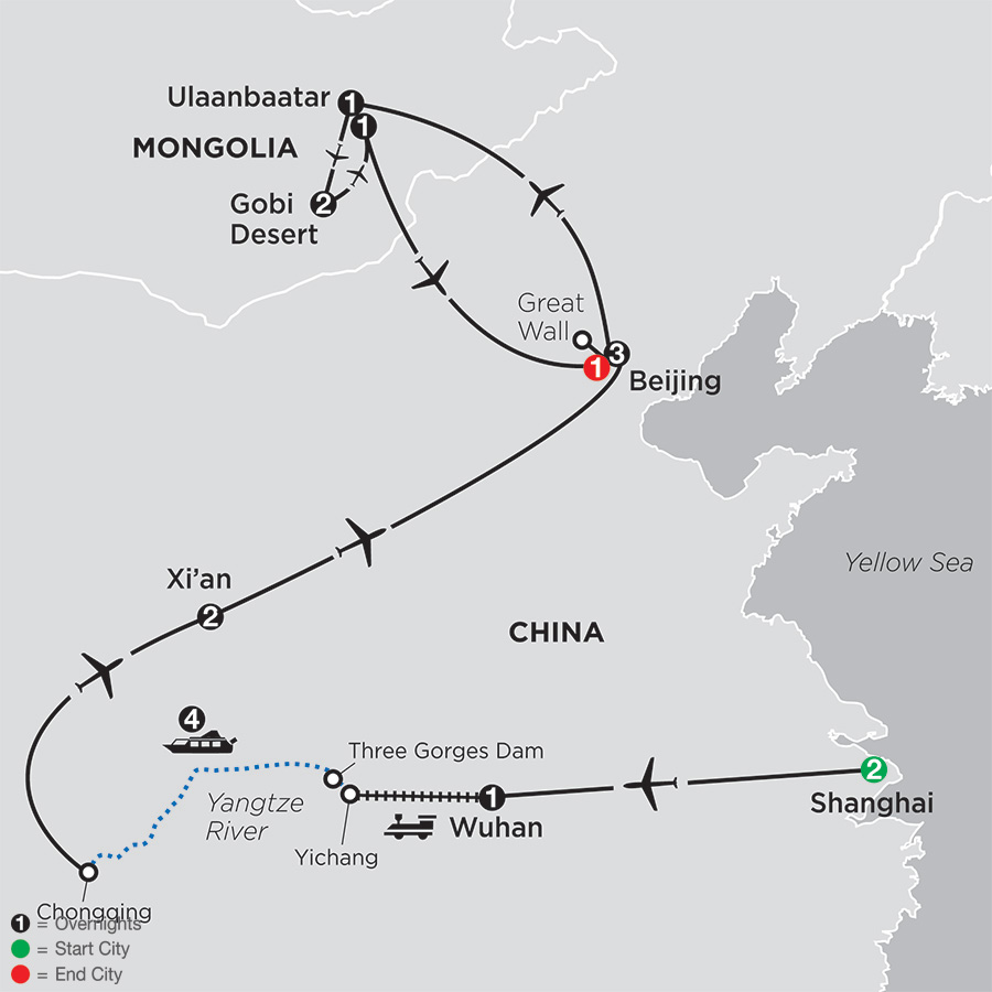 Spirit of China & the Yangtze River with Mongolia map