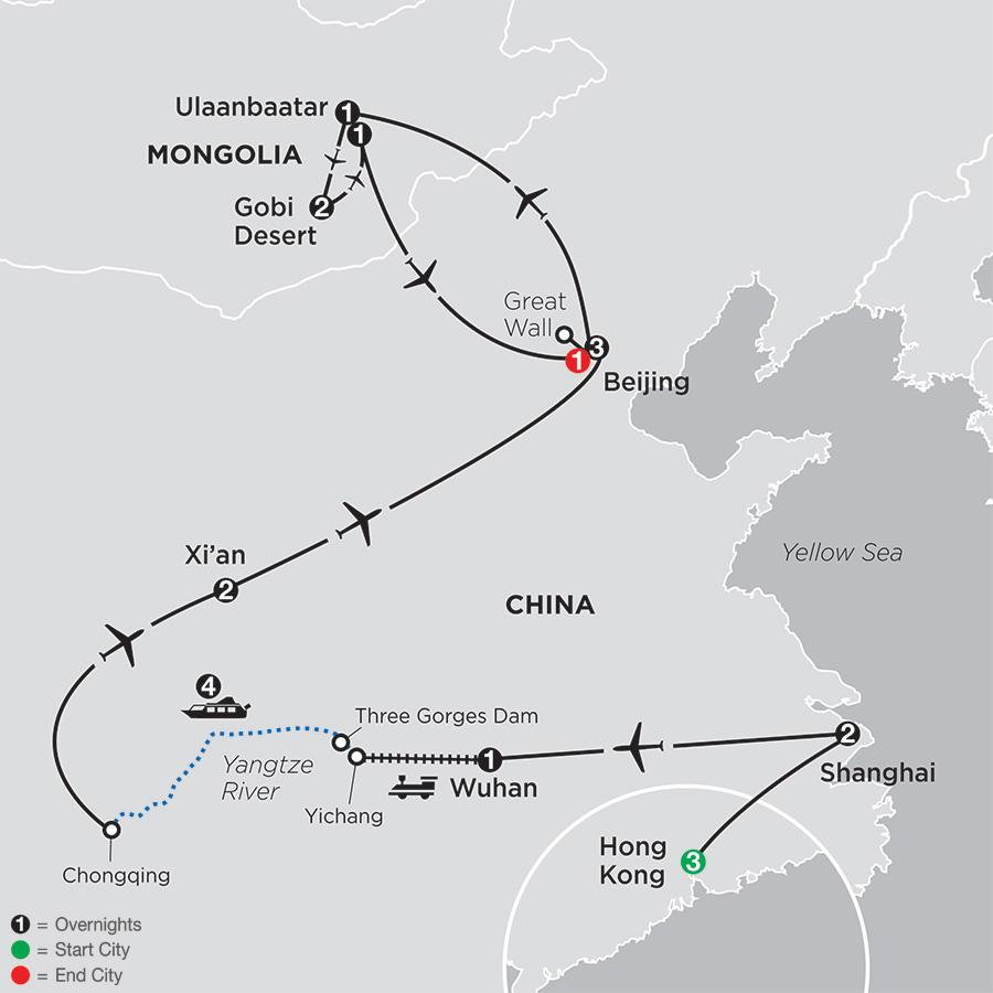 Spirit of China & the Yangtze River with Hong Kong & Mongolia map