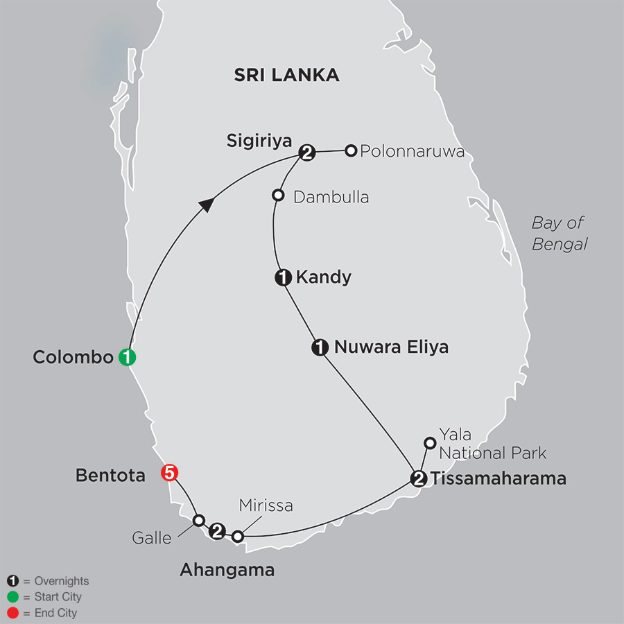 Grand Tour of Sri Lanka with Bentota map