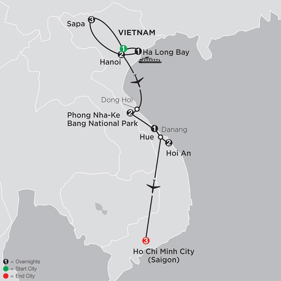 Simply Vietnam with Sapa map