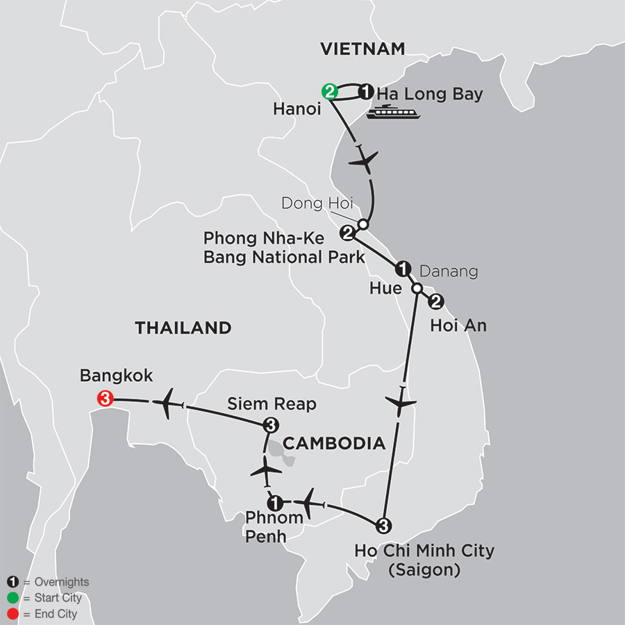 Simply Vietnam with Cambodia & Bangkok map