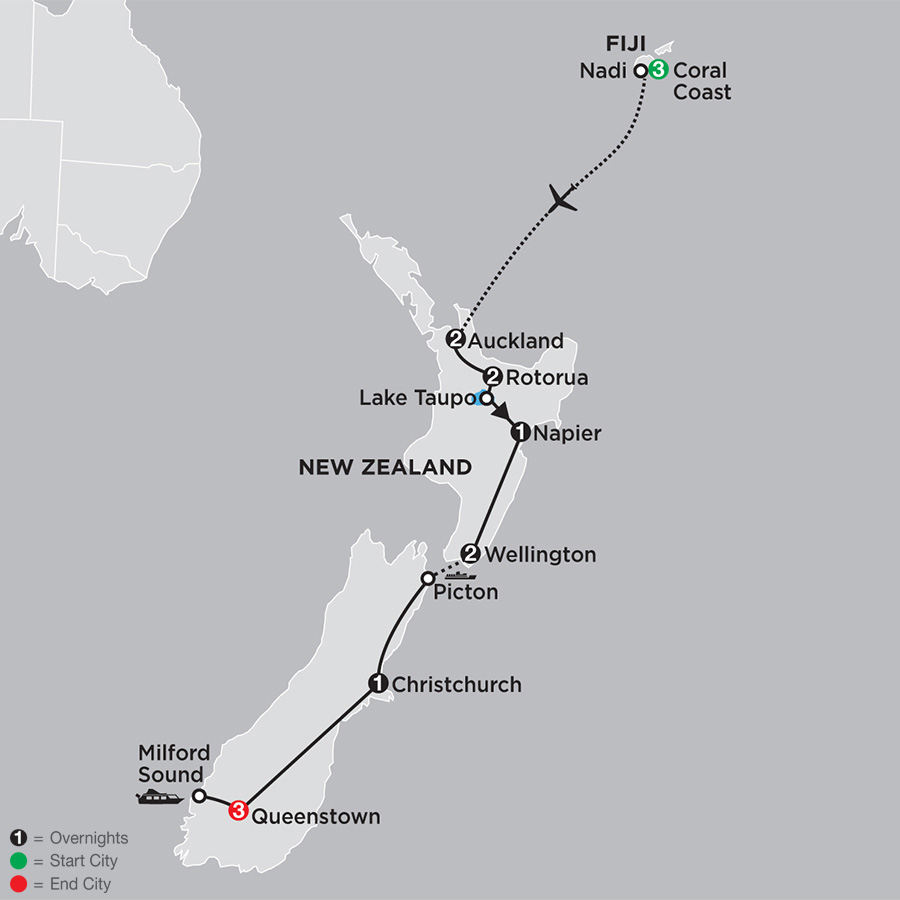 Highlights of New Zealand with Fiji map