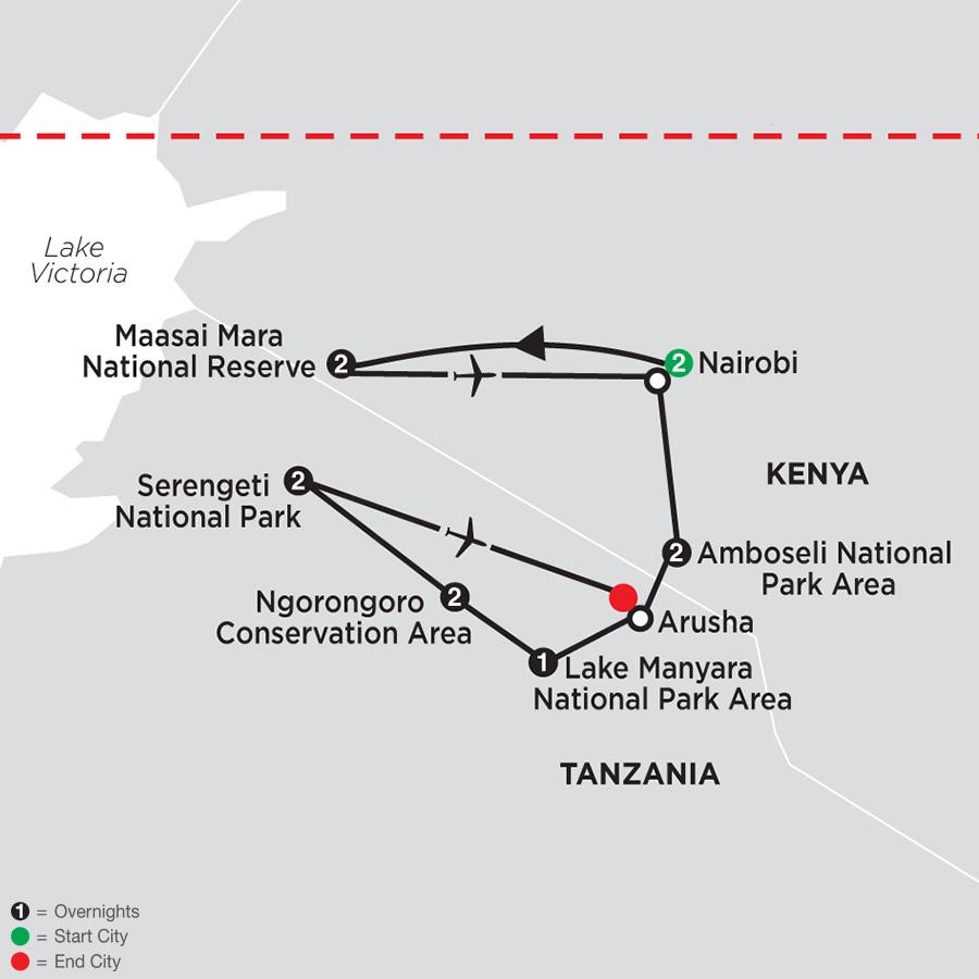 On Safari in Kenya & Tanzania with Nairobi map