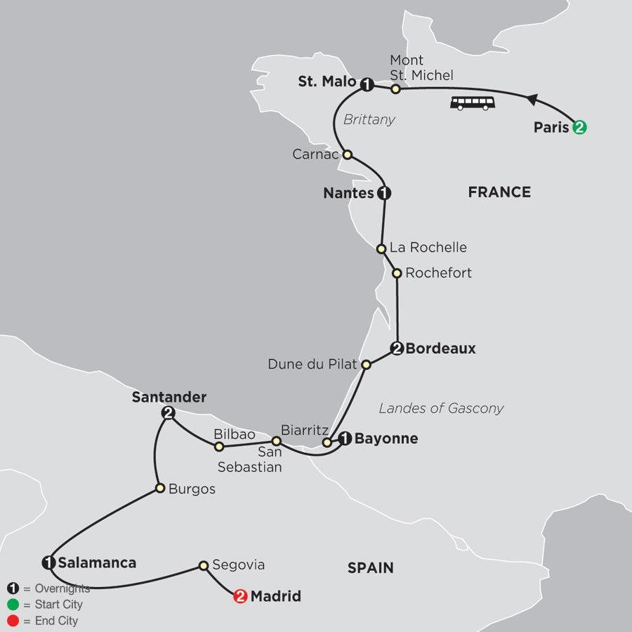 Secret Treasures of France & Spain map