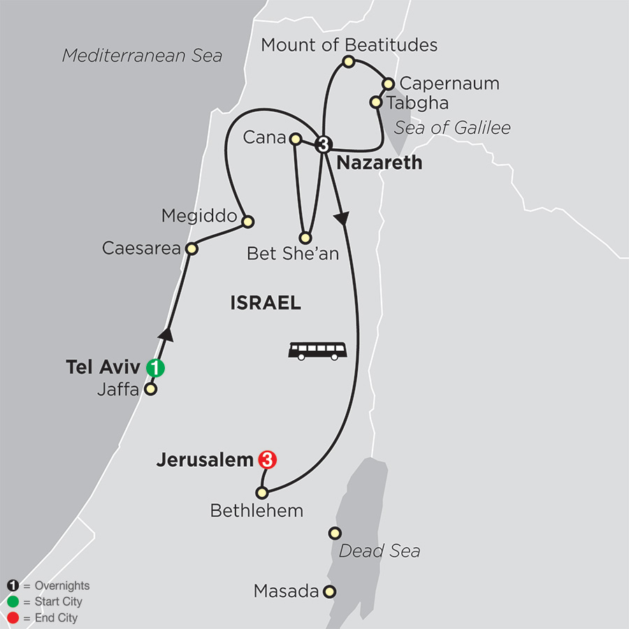 Holy Land Discovery - Faith-Based Travel – Catholic Itinerary map