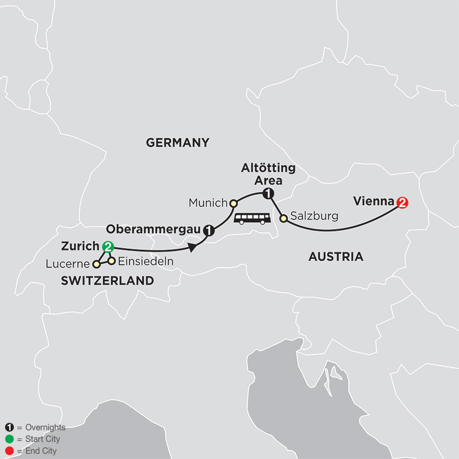 Shrines of Alpine Europe - Faith-Based Travel map